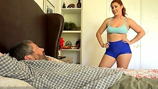 Athletic redhead chick gets knocked by a black monster