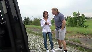 Chick College Teen Brunette Fucks In Car With New Boyfriend