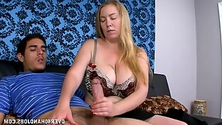 A hot woman jerks off her man excitedly!