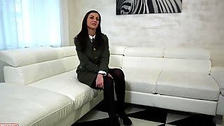 Czech brunette in uniform, Katy is about to get fucked during her first job interview