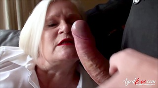 British full-grown blonde with huge na