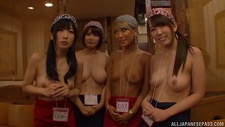 Kinky Japanese chicks team up to pleasure one lucky stranger
