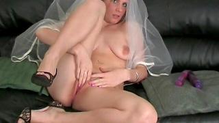Horny newly wedded wife Ashleigh masturbates with a dildo