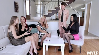 Usually young Jasmine Jae shows off stepson's big cock to her best friends