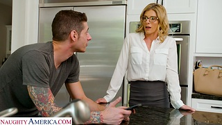 Nice shagging upon the reception room with cheating housewife Cory Chase