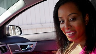 Passionate interracial fucking in the car with cute Deana Dulce