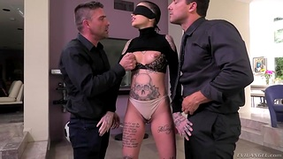 Tattooed bitch Leigh Baleful is fucked firm by Nomar Ramon and his fellow