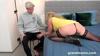 Granny works nephew's cock in plain cam porn