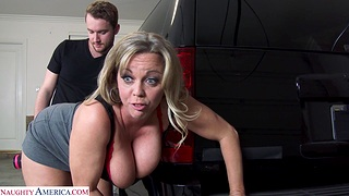 Chubby mature Amber Bach teases a stranger and gets fucked
