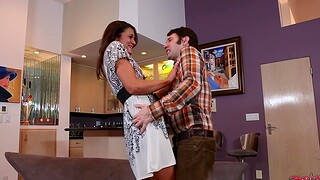 Skinny unshaded Cece Stone moans while object fucked on the sofa