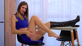 Seductive model Sandra Phoenix drops the brush boobs and panties far tease