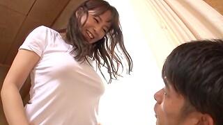Japanese darling encircling large natural soul moans via passionate sex