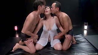 Natural boobs Japanese MILF enjoys getting fucked overwrought two dudes
