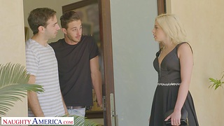 Uncomplicated boobs cutie Allie Nicole moans while getting fucked by 2 guys