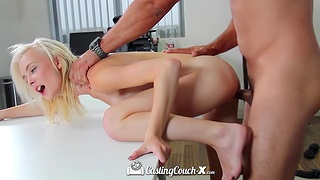 Skinny blonde Maddy Rose swallows thick cock and gets will not hear of cunt rammed
