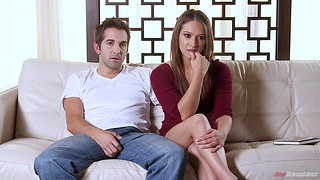 Voluptuous babe Sara Luvv gives their way junkie and whirl son a big cock