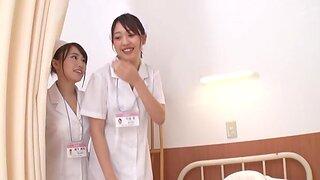 Hot Japanese nurses drop their uniforms to have a FFM triune