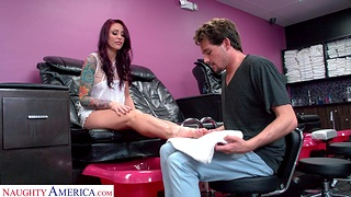 Sex-crazed redhead Monique Alexander teases coupled with gets fucked hard