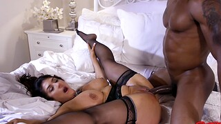 Large butt and tits MILF Raven Constituent gets fucked by a black ladies'