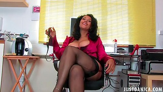 Trimmed pussy mature Danica Collins spreads say no to legs to masturbate