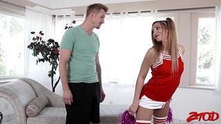 Lucky dude fucks orgasmic pussy of cheerleader Moka Mora + facial