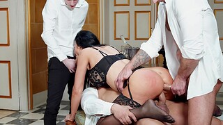 Anal sensations in scenes of home gangbang