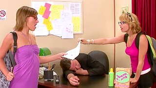 Skinny babes Eve Nicholson and Lexi Belle get fucked in the office
