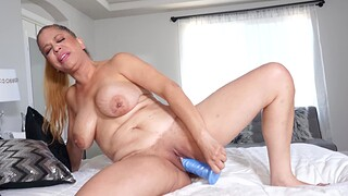 Full-grown blonde babe with chubby boobs effectuation alone - Andrea Grey