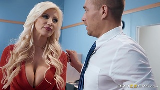 Buxom cougar with respect to red shoes Brittany Andrews is fucked with respect to the meeting