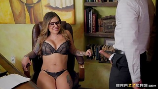 Bossy milf with big Bristols Karmen Karma is fucked hard right atop the table