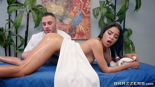 Gorgeous Latin babe Maya Bijou is fucked by horny bearded masseur