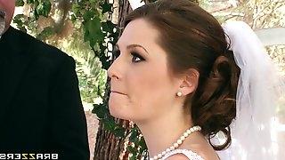 Busty bride Allison Moore enjoys a gangbang indoors